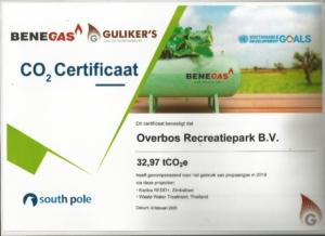 certificaat CO2 compensatie Overbos Recreatiepark